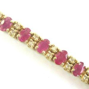Jewelry - Natural Oval Ruby & Diamond Yellow Gold Tennis Bra